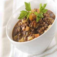 Pork with lentils and diced bacon